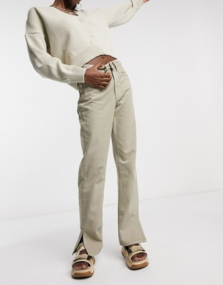 WÅVEN straight leg jeans with side slit in sand