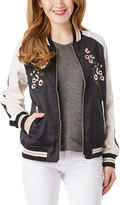 Live A Little Black & White Embroidered Floral Bomber Jacket
