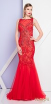 Terani Couture Rhinestone Lace Keyhole Open Back Trumpet Evening Dress