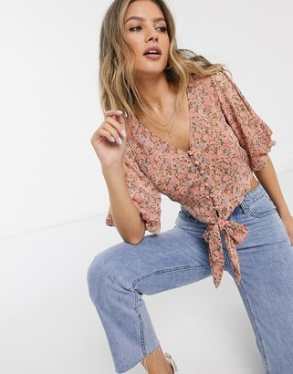 Miss Selfridge tie front puff sleeve blouse in pink floral