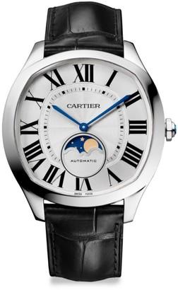 Cartier Drive de Moon Phase Stainless Steel & Black Alligator-Strap Watch