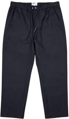 Oamc Navy Cropped Tapered Wool Trousers