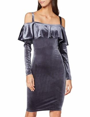 John Zack Women's Off Shoulder Frill Velvet Dress