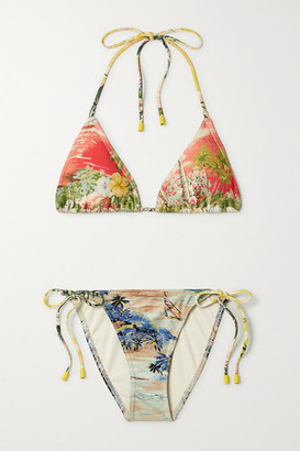 Zimmermann Juliette Printed Triangle Bikini - Red