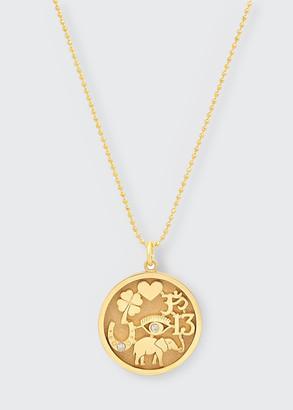 Jennifer Meyer 18k Good Luck Pendant Necklace with Diamonds
