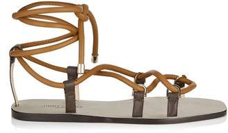 Jimmy Choo AZIZA FLAT Cuoio Strappy Flat Sandals