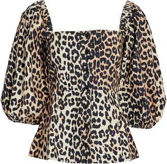 Ganni Leopard Puff Sleeve Poplin Top