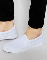 Asos Slip On Sneakers in White Canvas
