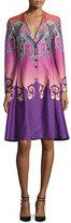 Etro Paisley Ombre Cloqué V-Neck Coat, Purple/Pink
