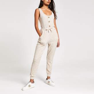 River Island Womens Cream ribbed pyjama jumpsuit