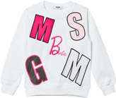 MSGM White Multi Logo Barbie Sweatshirt