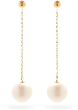 Anissa Kermiche Girl With A Pearl Gold Drop Earrings - Pearl