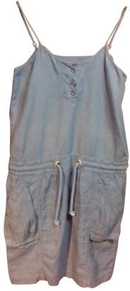 Closed Blue Linen Dress for Women