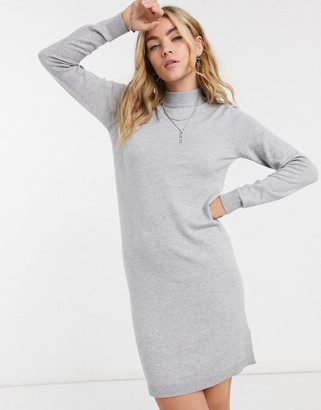 Object Thess knit mini jumper dress in grey
