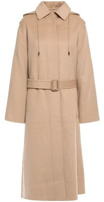 Joseph Carbon Belted Wool And Cashmere-blend Hooded Coat