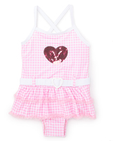 Pink Platinum Pink & White Gingham Skirted One-Piece - Infant & Toddler