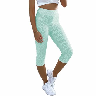 Xpose Ladies Anti Cellulite Body Enhancing Body Shaping Textured High Waist Capri 3/4 Length Yoga Gym Leggings Black Coral Mint Blue Lilac Nude 8 10 12 14 (Mint S/M)