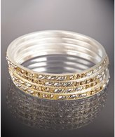 set of 4 - gold and silver leaf bangles