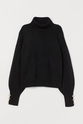 H&M Fine-knit Turtleneck Sweater - Black