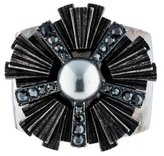 Lanvin Starburst Crystal and Pearl Cuff