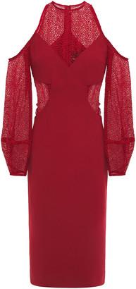 Nicholas Cold-shoulder Guipure Lace-paneled Crepe Midi Dress