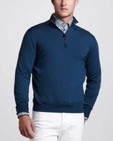 Ermenegildo Zegna Suede-Trim Zip Sweater, Petrol