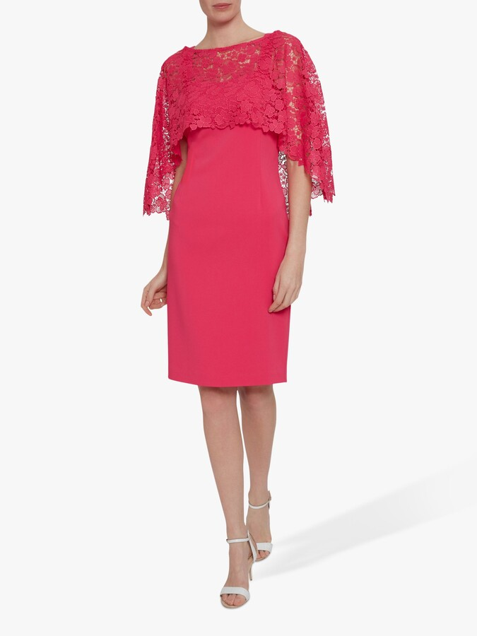 Thumbnail for your product : Gina Bacconi Catriona Crepe Dress With Lace Overcape