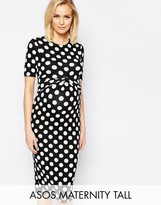 Asos TALL Bodycon Dress In Spot With Cross Front