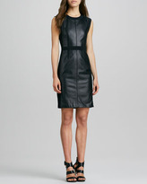 Rebecca Taylor Leather/Ponte Paneled Dress