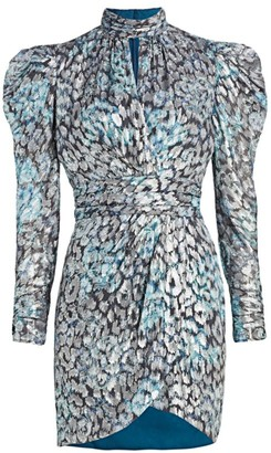 Jonathan Simkhai Metallic Jacquard Puff Sleeve Mini Dress