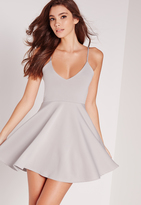 Missguided Petite Strappy Skater Dress Grey