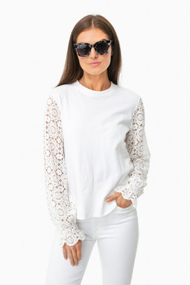 See by Chloe White Powder Lace Sleeve Top