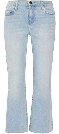 Current/Elliott The Kick Distressed Mid-Rise Cropped Flared Jeans