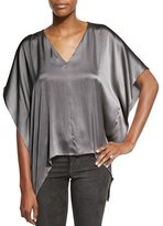 Alice + Olivia Nola Boxy V-Neck Satin Top, Charcoal