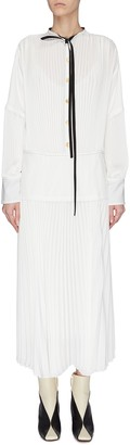 Proenza Schouler Contrast lining pleated neck tie shirt dress