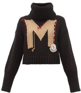 Moncler Logo-jacquard Roll-neck Chunky-knit Sweater - Womens - Black Multi