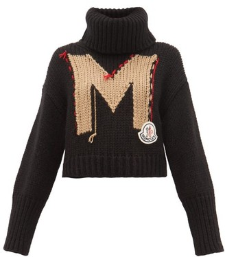 Moncler Logo-jacquard Roll-neck Chunky-knit Sweater - Black Multi