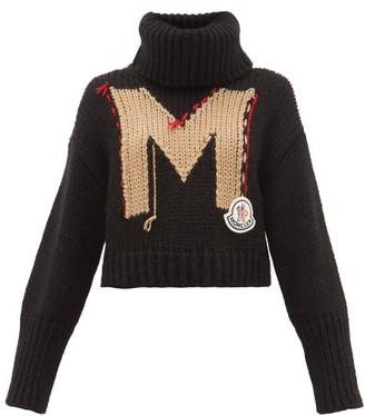 Moncler Logo-jacquard Roll-neck Chunky-knit Sweater - Black Multi