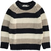 Douuod Three-Tone Striped Coyote Pullover