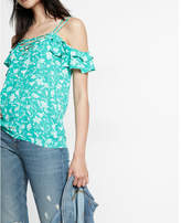 Express Floral Swirl Print Lace-up Cold Shoulder Cami