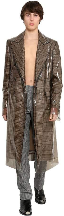 Calvin Klein Wool Prince Of Wales Coat W/ Pvc Cover