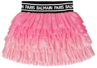 Balmain Kids Tiered tulle skirt