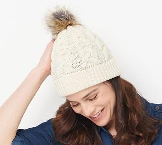 Aran Craft Merino Wool Hat with Faux Fur Pom Pom