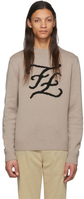 Fendi Brown Cashmere Karligraphy Sweater