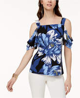 INC International Concepts Printed Cold-Shoulder Top, Created for Macy's