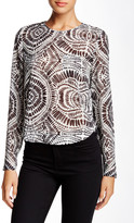 L.A.M.B. Printed Long Sleeve Cropped Blouse