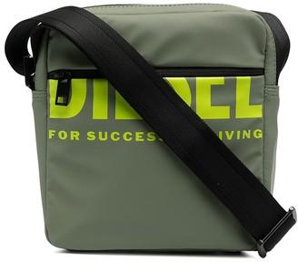 Diesel Logo-Print Rubberised Messenger Bag