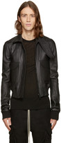 Rick Owens Black Leather Glitter Trench Jacket