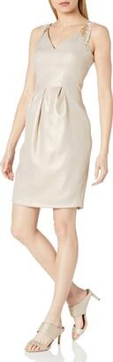 Carmen Marc Valvo Women's V Neck Sparkle Linen Short Dress W/Pleats and Embellishment at Shoulders