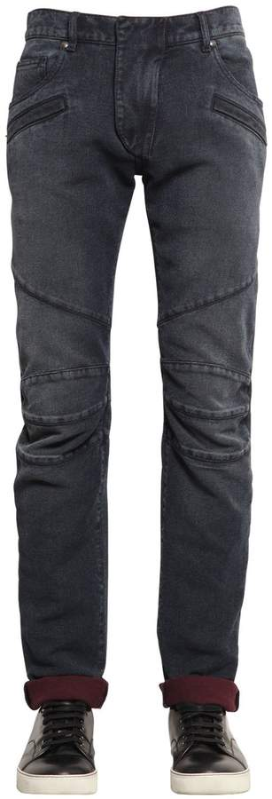 Pierre Balmain 16.5cm Biker Cotton Denim Jeans